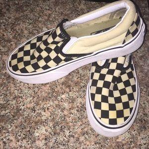 Checkered slip in platform Vans